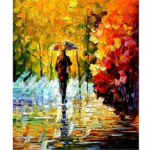 Sunding Art Modern Abstract Painting Hand-Painted Oil Painting Landscape Wall Artwork Wolking In The Rain Landscape on Canvas Modern Wooden Framed for Living Room Ready to Hang