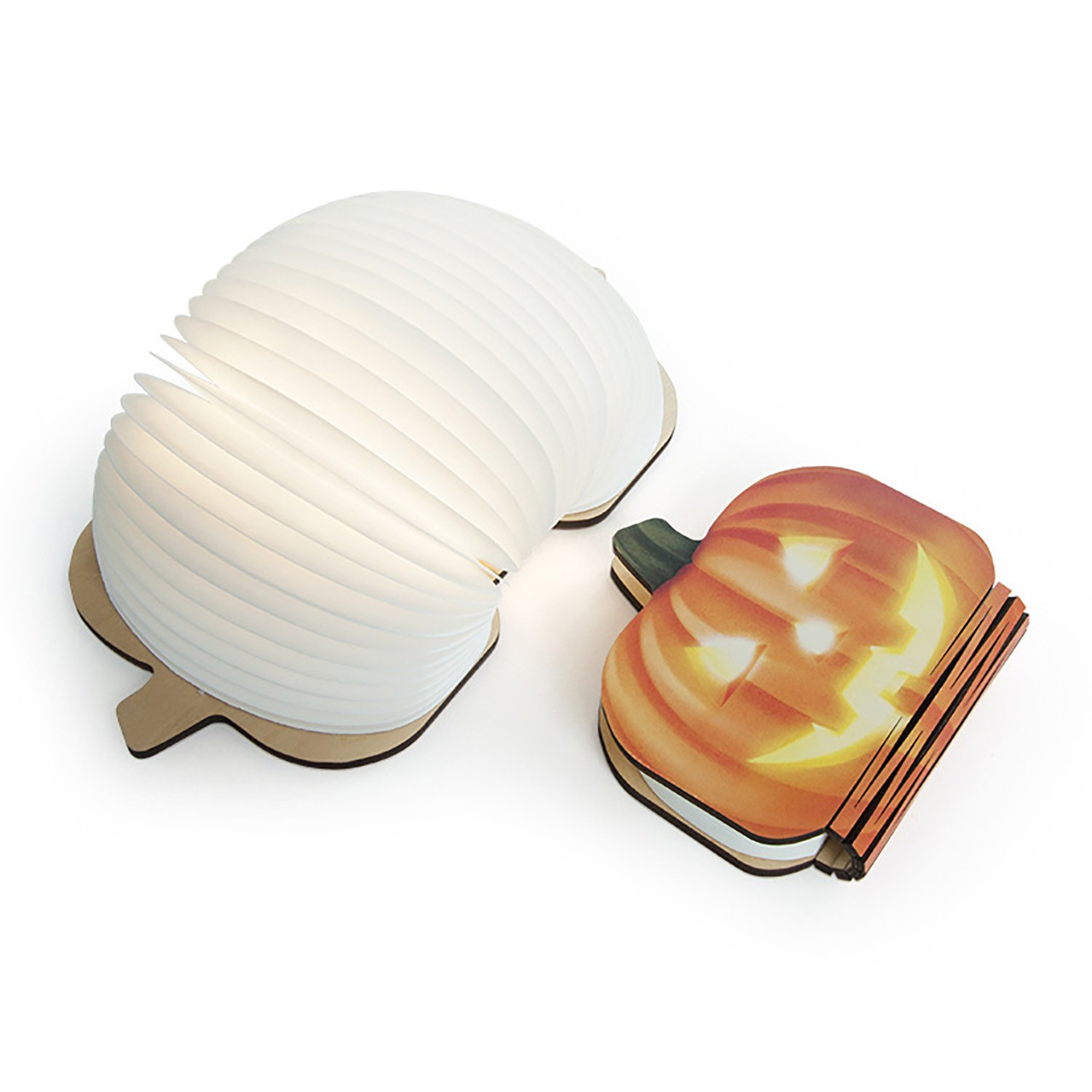 ONEVER LED Rechargeable Table Light, Foldable Color Changing LED Light Book Style Creative Decorative Night Light Wall Lamp (Pumpkin)