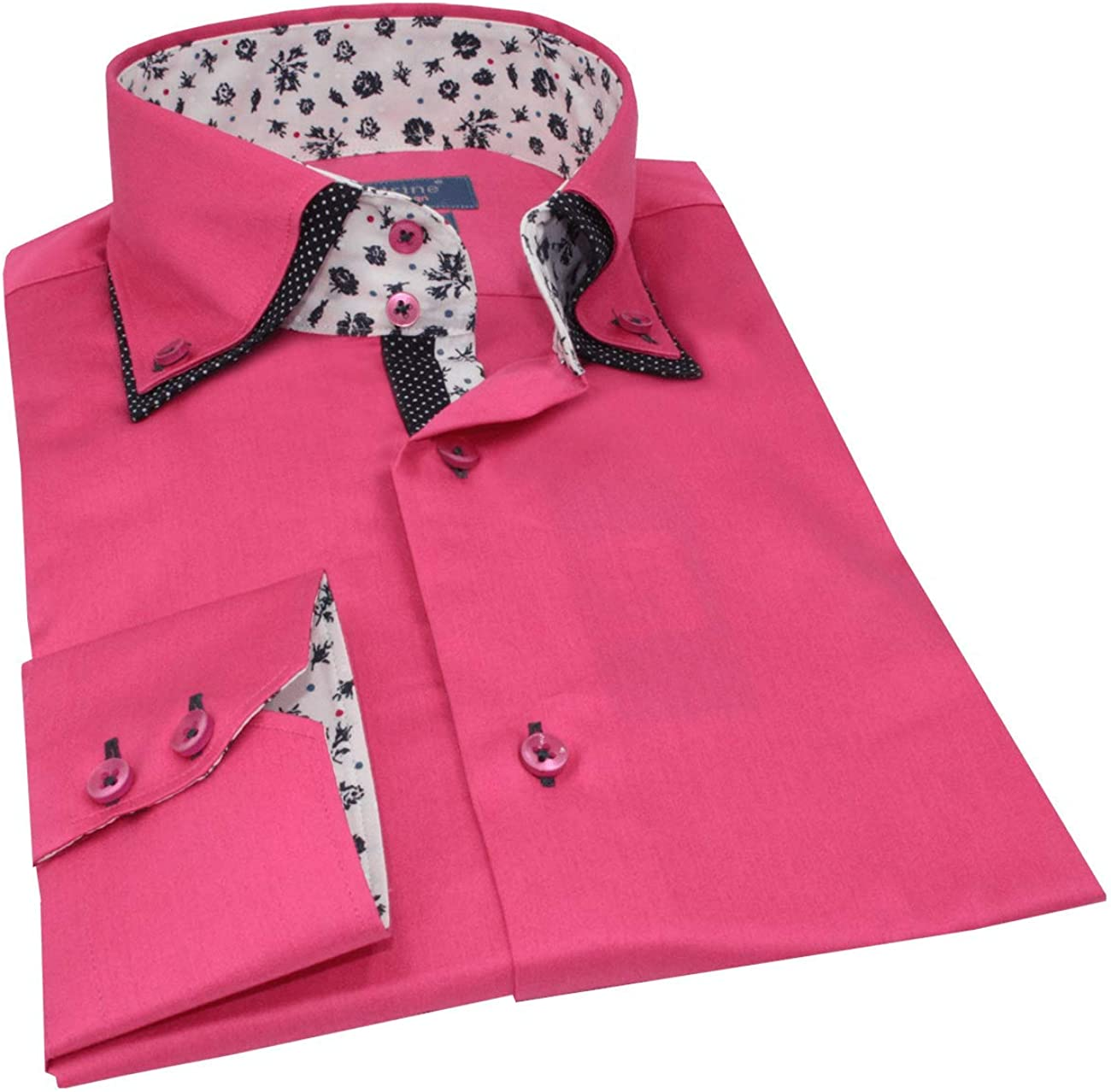Hombre Camisa Slim Fit Color Rosa Fucsia Doble Collar Flor contrastante - L, Rose Fushia: Amazon.es: Ropa y accesorios