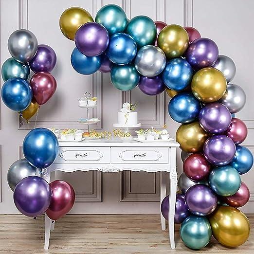 Poco Partido globos metálicos Party Espacio de plata y verde 50 piezas de 12 pulgadas brillantes Globos En metálico para el partido globo rojo de casa