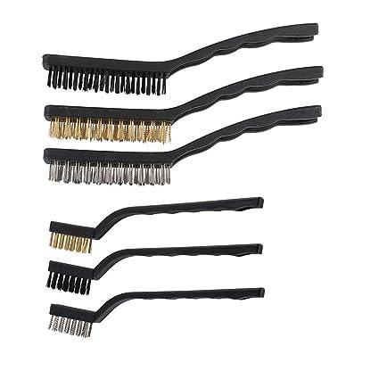 Daimay Rasguño Conjunto de cepillo de alambre Acero inoxidable + Latón + Nylon con 2 tamaños ...