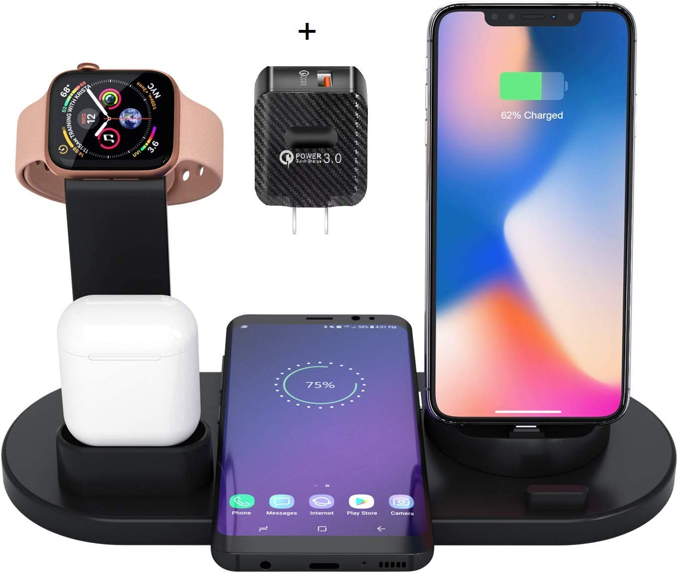 [Newest 2020] Wireless Charger 4 in 1 Charging Station - Upgraded Fast Wireless Charging Stand Compatible with Phone XI/XI pro/X/XS/XR/Xs Max/8/8 Plus, Smart Watches, Pods and Android Devices (Black)