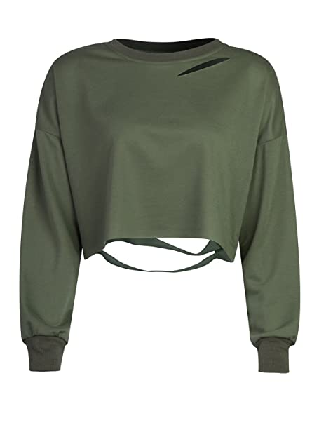 39c70a73afc38 Choies Women Army Green Long Sleeve Ripped Cropped Sweatshirt Loose Pullover  Crop Top S