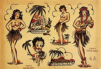 Amazoncom Sailor Jerry Tattoo Art Flash 7 13x19 Photo Print