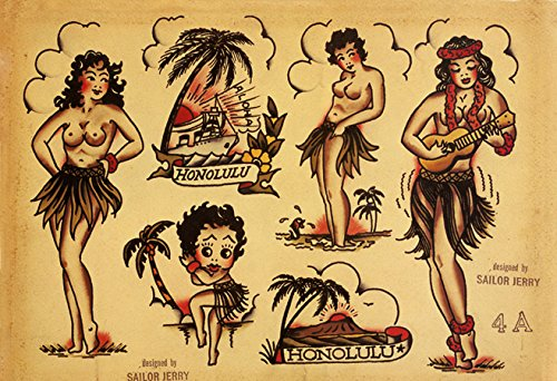 "Sailor Jerry Tattoo Art Flash #7 13x19"" Photo Print"