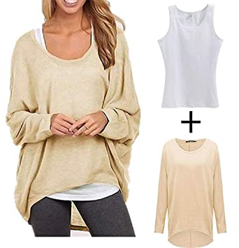 707e3df6cc4c5b AK Women's Sexy Long Batwing Sleeve Loose Pullover Casual Top Blouse T-Shirt  a Free White top at Amazon Women's Clothing store: