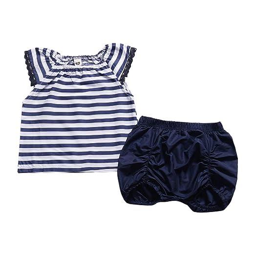 2e574c00a Amazon.com: Newborn Baby Girls Lace Sleeve Striped Dress Top+Short ...