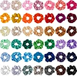 Madholly 42 pieces Satin Hair Scrunchies Elastic Vintage Hair Ties Ponytail Holder for Women and Teen Girls in 42 colors