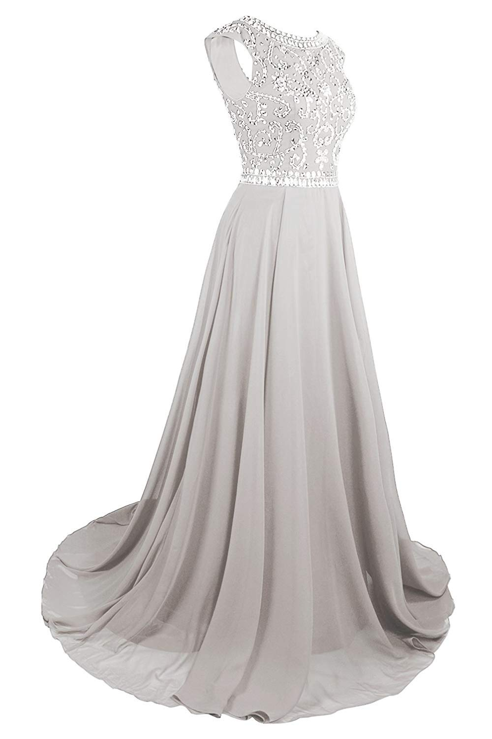 MsJune Long Prom Dresses Cap Sleeves Bridesmaid Wedding Guest Gowns Beaded Dress Silver 6