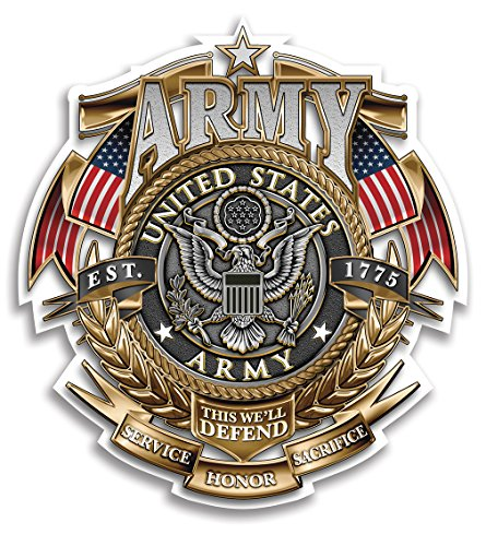 Collectible Army Decals  2In   Share Your Appreciation And Support With Our Vinyl Army Gold Shield Badge Of Honor Stickers For Your Home  Car  Cases And More  Souvenir Gifts For Army Soldiers