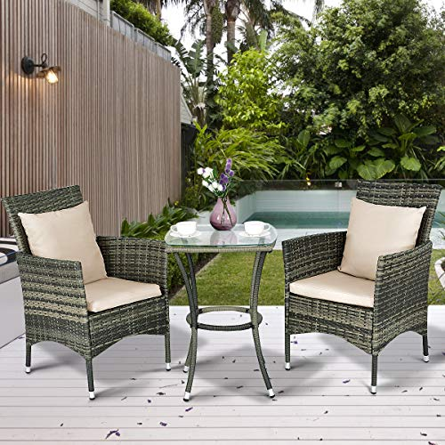 Tangkula AM0991HM 3 Piece Furniture Wicker Rattan Outdoor Patio Set, Grey (Best Wicker Furniture Manufacturer)