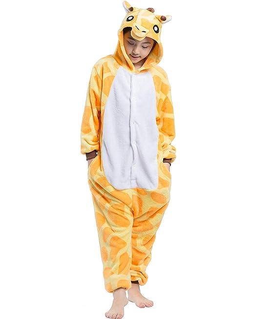 e8cf09b0b7 DELEY Unisex Bambini Pigiama Onesies Cosplay Animal Costume Giraffa  Pigiamino di Halloween Carnevale Tuta 4-