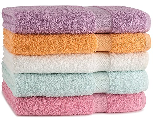 TowelFirst™ 5-Pack Extra-Absorbent Bath Towel Set – Large, 27″ x 54″, 100% Cotton Bath Towels – Soft and Quick Drying – Best for Bath, Pool and Guest Use, BONUS – 2 12″x12″ Washcloths (Pastel)