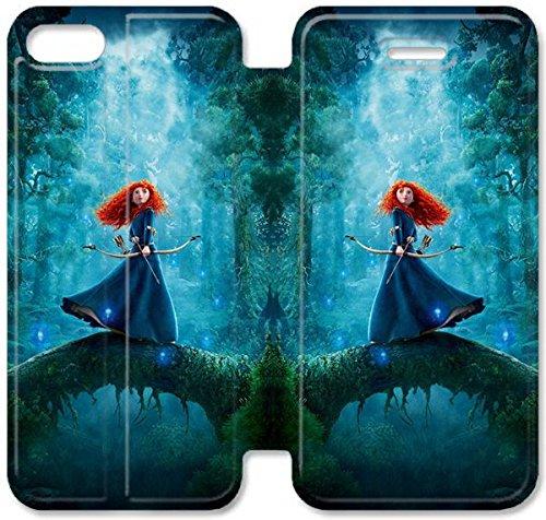 Flip étui en cuir PU Stand pour Coque iPhone 5 5S, 5 cas de téléphone cellulaire 5S Bricolage princesse Merida Brave I2K2AF Jillian Coque iPhone étuis en cuir