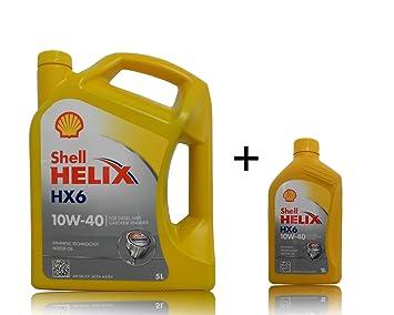 1 x 5 + 1 x 1 l Shell Helix HX6 aceite de 10 W 40: Amazon.es: Coche y moto