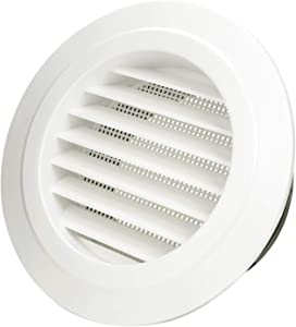 Hon&Guan 5'' Air Vent Louver, Air Grill Cover with Built-in a Fly Screen for Bathroom Office Home (ø125mm)