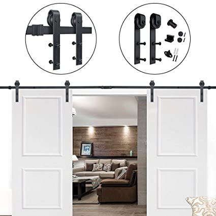 Bon Amazon.com: Hahaemall 15FT American Style Double Sliding Barn Door Hardware  Hanging Roller Heavy Metal Kit (J Shape Hangers): Home Improvement