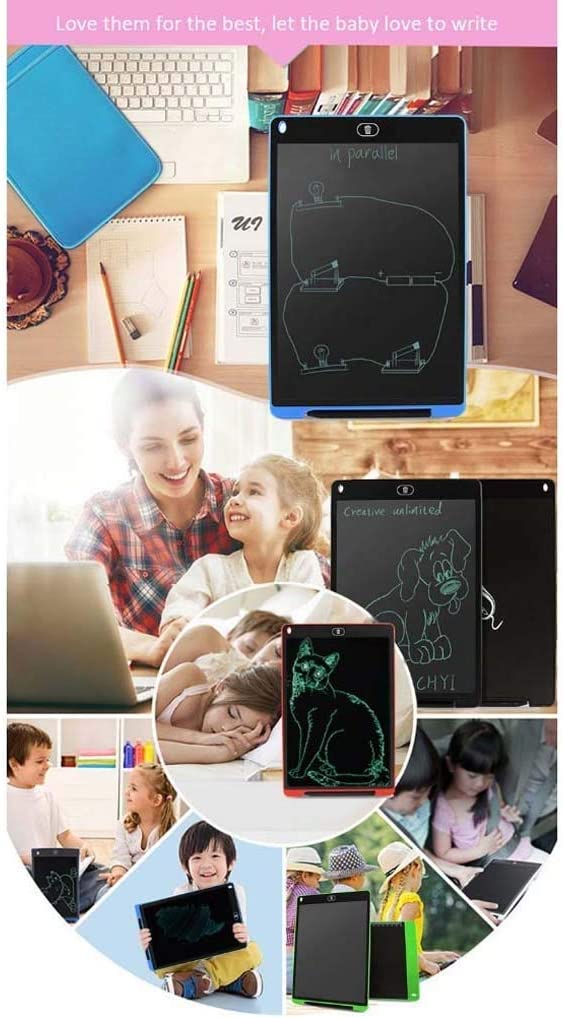 Color : Black Ygetas Mini Childrens Drawing BoardLCD Writing Board//Office Memo Board//Stylus Smart Paper for Drawing Notes 12 Inch Writing Tablet