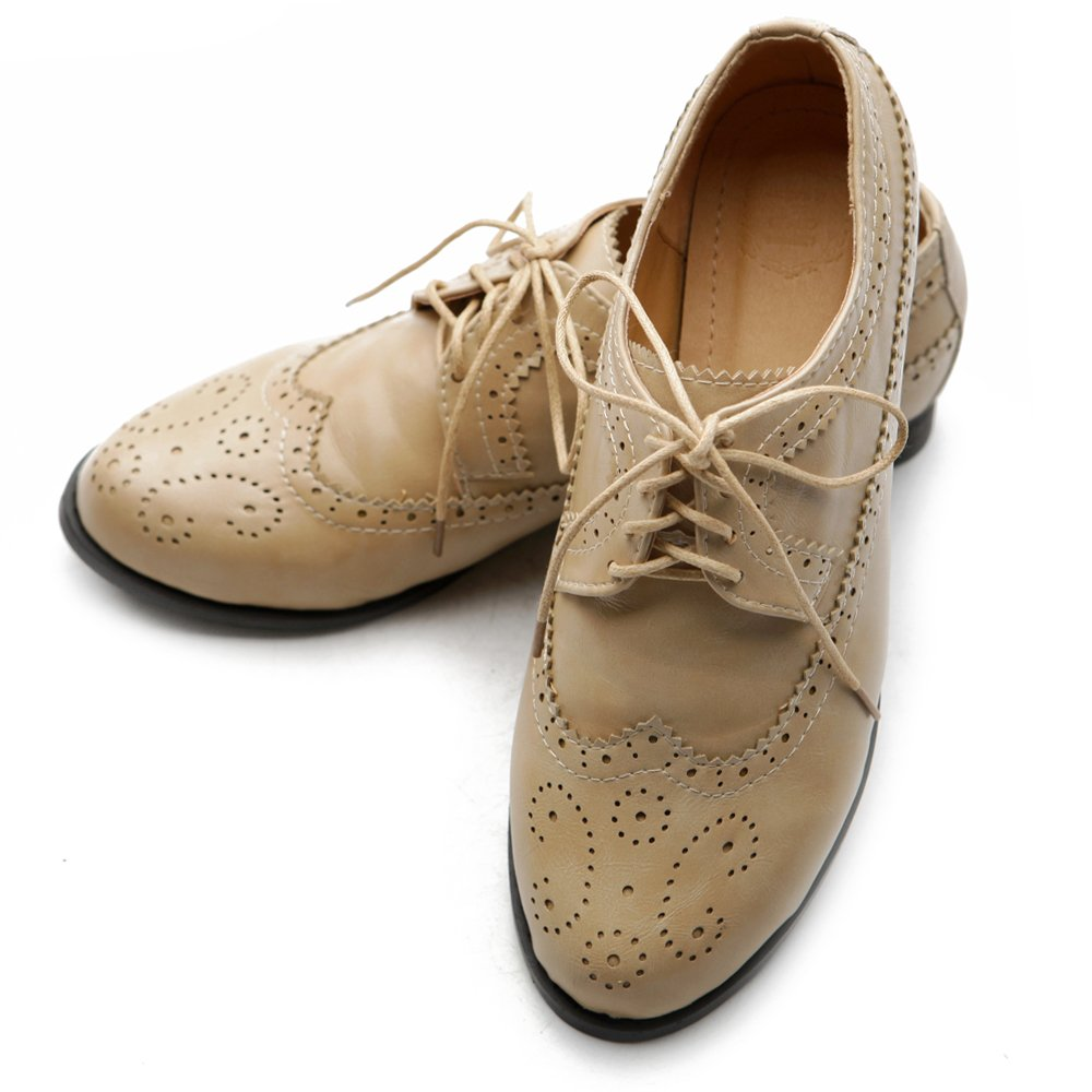 1920s Shoes UK – T-Bar, Oxfords, Flats Ollio Womens Shoe Lace Up Low Heels Wingtip Dress Oxford $15.99 AT vintagedancer.com