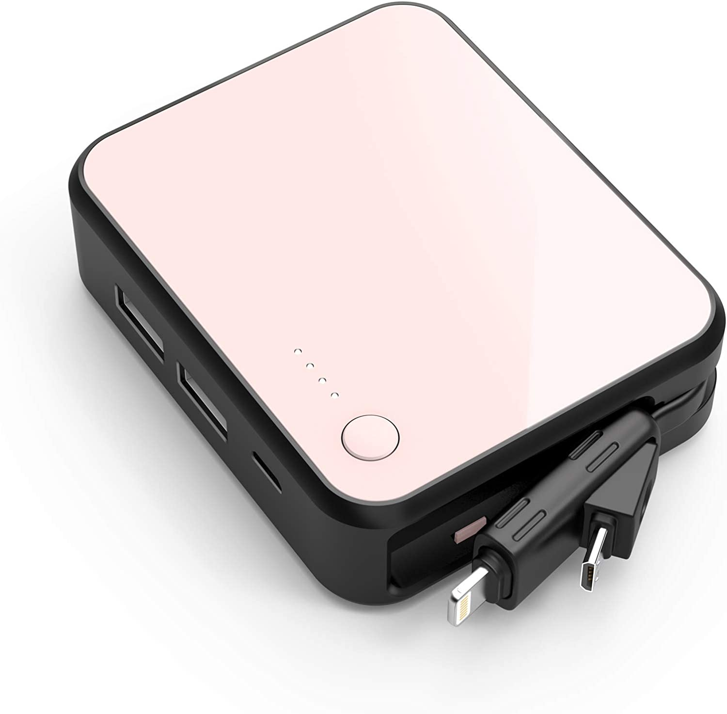 Luxtude Small Portable Charger for iPhone with Lightning Cable, 6000mAh Ultra-Compact Power Bank, Dual USB Outputs External Battery Charger for iPhone 12 Mini/12 Pro/11/11 Pro/8 Plus/8/7/6/6S/XR etc.