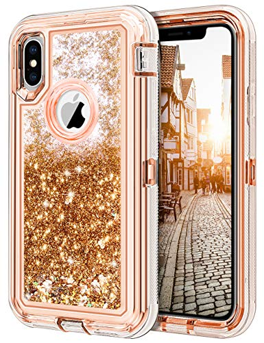 JAKPAK Case for iPhone Xs Case iPhone X Case for Girls Woman iPhone Xs Glitter Bling Sparkle Case Heavy Duty Shockproof Full Body Protective Hard PC Bumper+TPU Back Cover for iPhone XS/X/10-Rose Gold