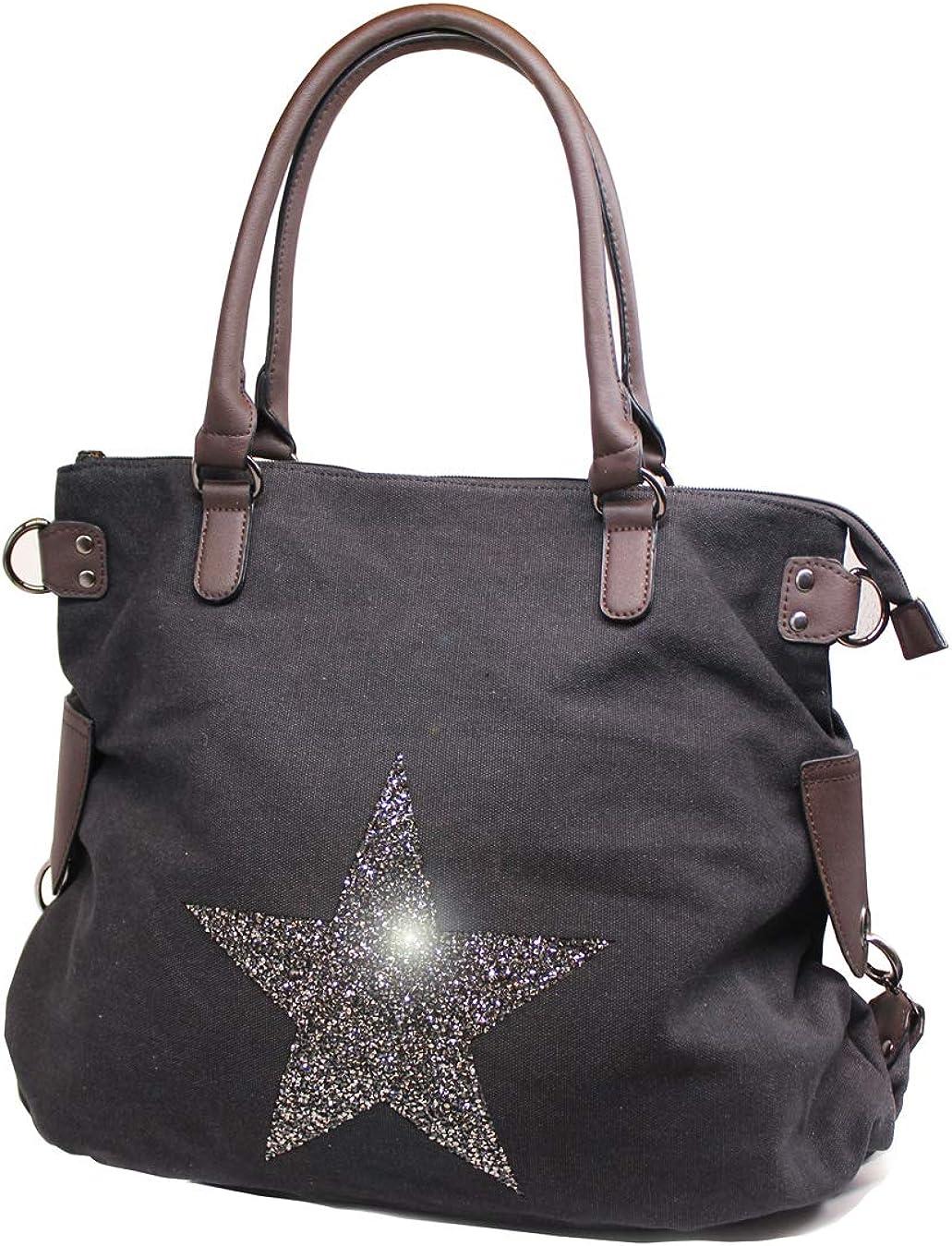 in tela resistente Borsa a tracolla grande da donna con stelle luccicanti brillanti espandibile resistente