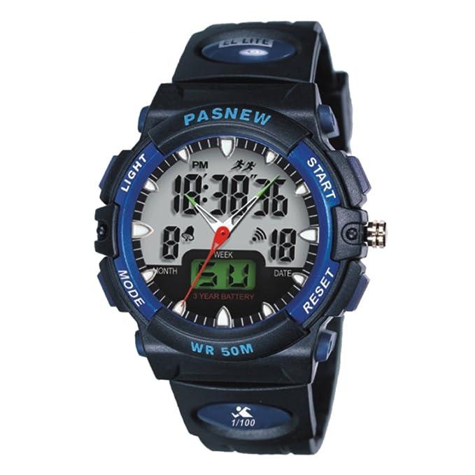 Mens relojes impermeable junior reloj electrónico de la manera-D: Amazon.es: Relojes