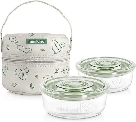 Miniland Pack-2-Go Naturround Chip - Set de Herméticos y Funda, Color Natural Chip: Amazon.es: Bebé