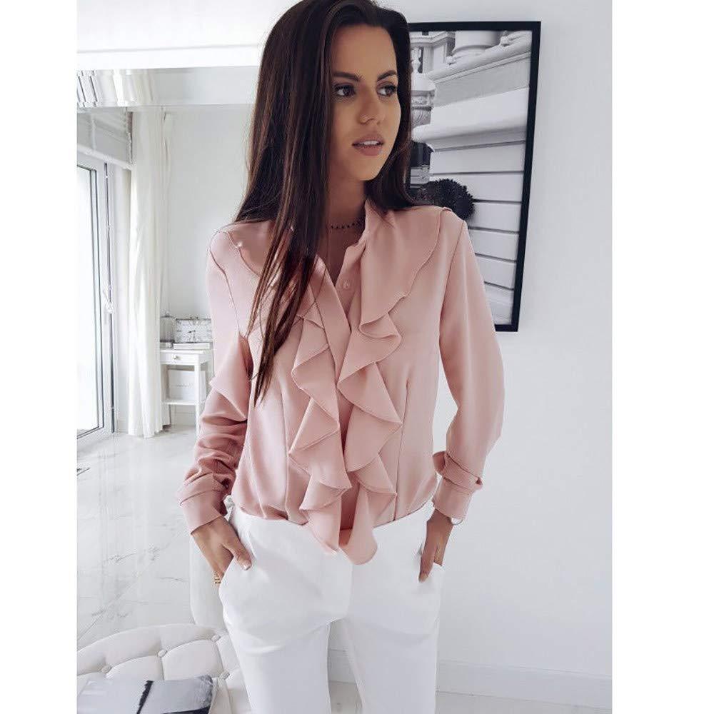 MOIKA Modische Damenblusen Damen Langarm Bluse mit R/üschen vorne Shirt Damen B/üro Tops Chiffonbluse Lange Tunika