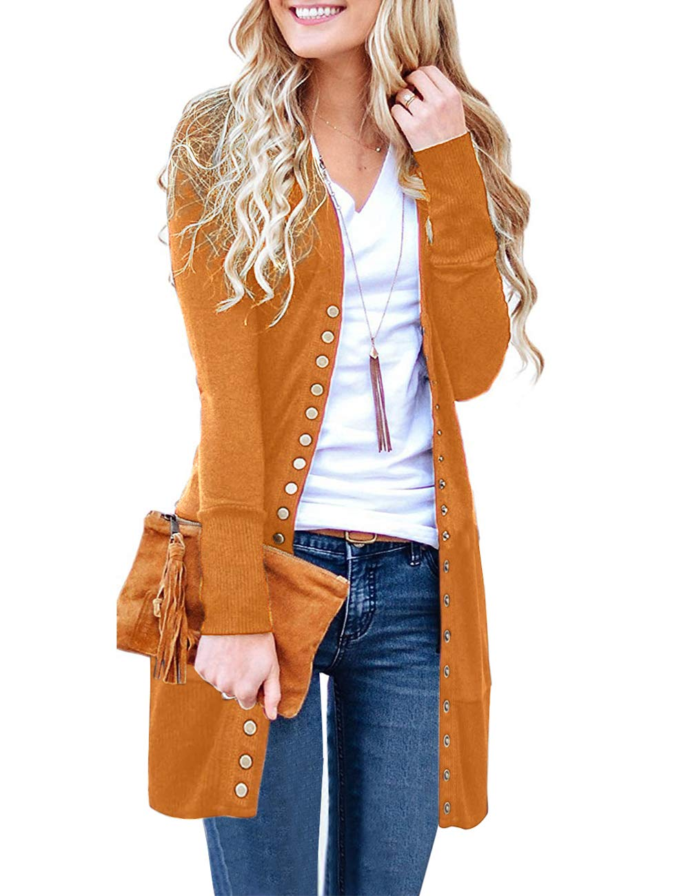 MEROKEETY Women's Long Sleeve Snap Button Down Solid Color Knit Ribbed Neckline Cardigans Mustard by MEROKEETY