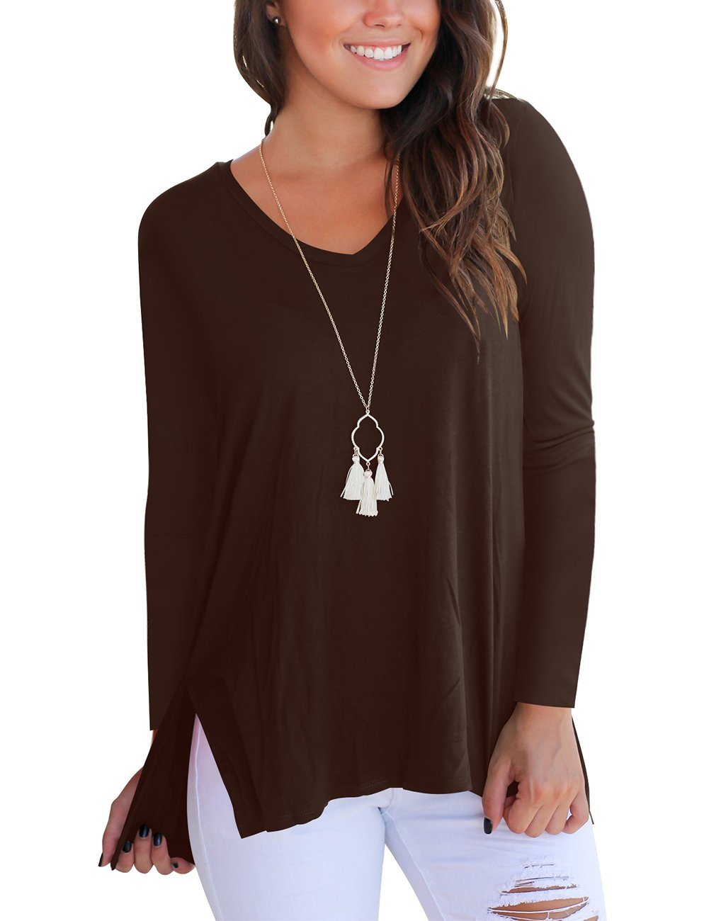 Long Sleeve Tops for Women Casual Loose T Shirt Cotton Tees Coffee M