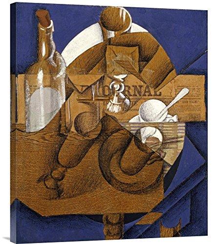 Verres Et Bouteille Le Journal - Global Gallery Budget GCS-266456-30-142 Juan Gris Trasse Verres Et Bouteille (le Journal) Gallery Wrap Giclee on Canvas Wall Art Print