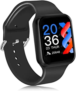 Smart Watch, CNPGD Fitness Tracker for Men and Women, Touch Screen Smartwatch with Heart Rate Monitor, Blood Pressure, Blood Oxygen(SpO2) Monitor, smartwatch for iPhone Android Phones(Black)