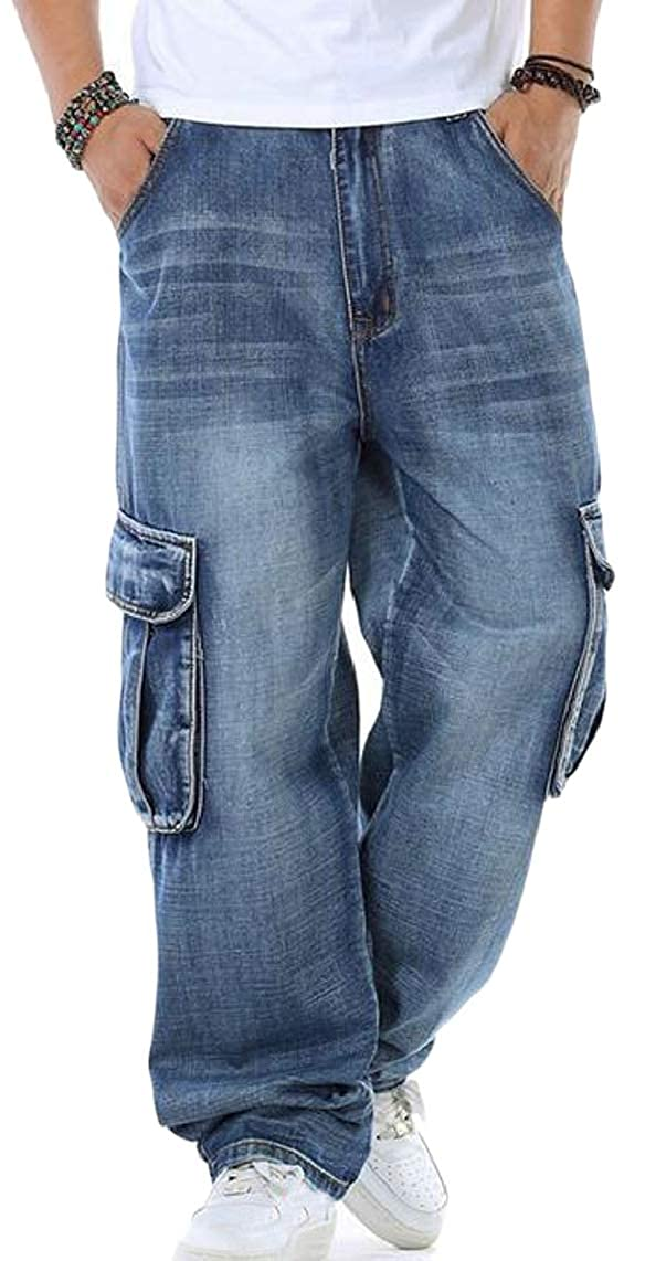 1 Mens Plus Size Jeans Relaxed Fit Baggy Loose Jeans Pants