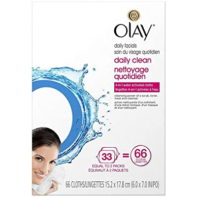 OLAY 4-in-1 Daily Facial Cloths, Normal, 66 ea (Pack of 4)