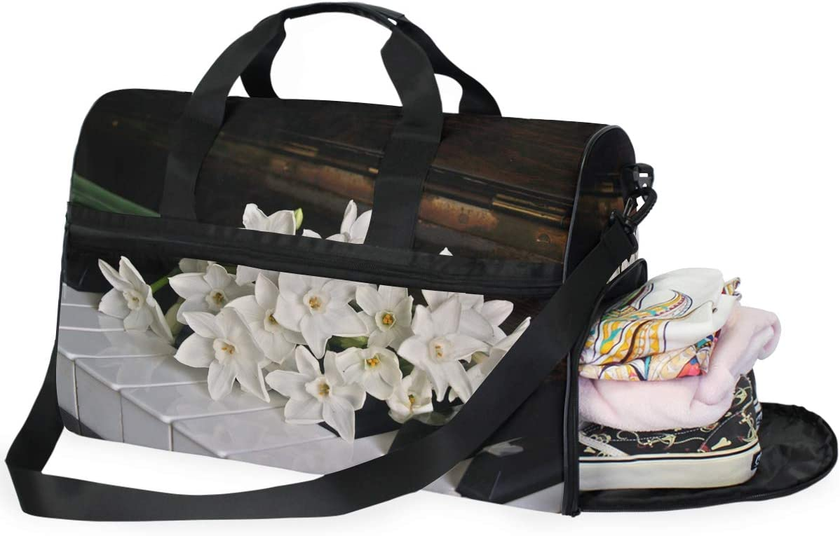 MUOOUM Piano And Flower Large Duffle Bags Sports Gym Bag with Shoes Compartment for Men and Women