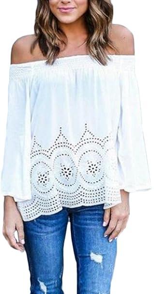 Camisetas Mujer Chiffon Elegante Barco Cuello Sin Tirantes Manga Larga Blusas Hollow Fiesta Estilo Color Sólido