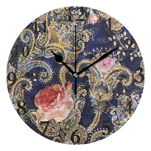 (Ladninag Wall Clock Vintage Victorian Roses Paisley Silent Non Ticking Decorative Round Digital Clocks Indoor Outdoor Kitchen Bedroom Living Room)