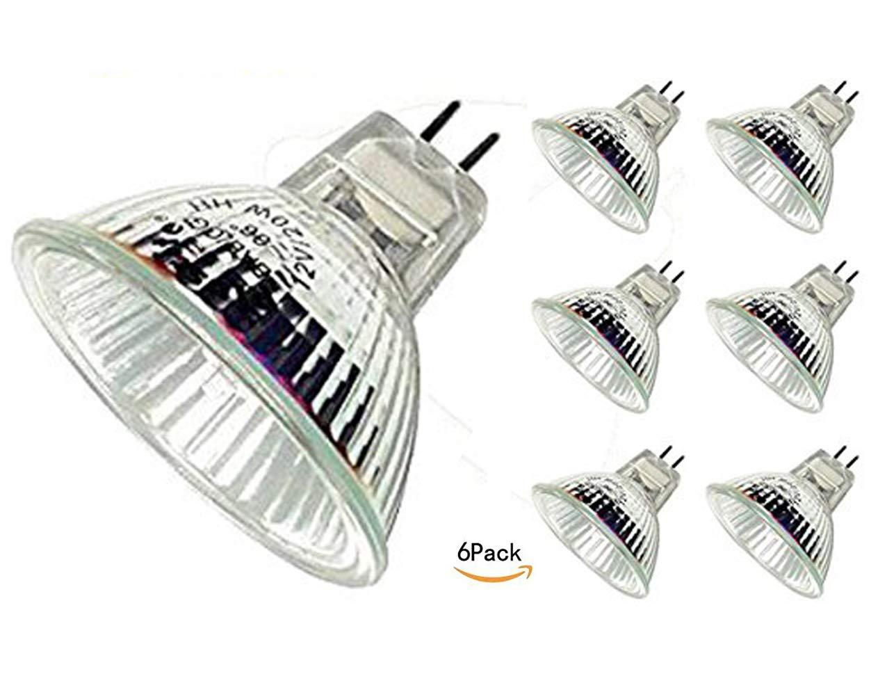CTKcom Halogen Light Bulbs(6 pack) - 12Volt 20Watt MR16 Halogen Lamp, Bi Pin Wide Beam High Lumens 2000Hr Life, Precision Halogen Reflector Fiber Optic Light Bulb 12V 20W, 6 pack