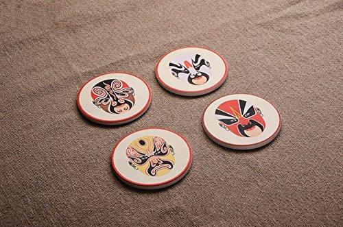 Zhang Qiming Fashion Design Unique Chinese Peking Opera Mask Ceramic Cup Mat,Set Of 4 (Masks Chinese Design Opera)