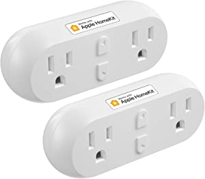 meross Smart Plug Dual WiFi Outlet Plug 2 in 1, Support Apple HomeKit, Siri, Alexa, Echo, Google Assistant and SmartThings, Voice & Remote Control, Timer, No Hub Required, 2 Pack
