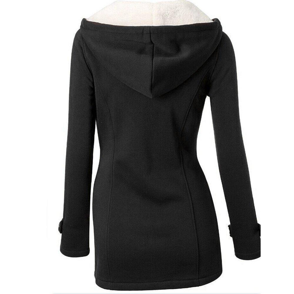 MORCHAN Femmes Mode Coupe-Vent Outwear Chaud Laine Slim Long Manteau Veste Trench B-noir