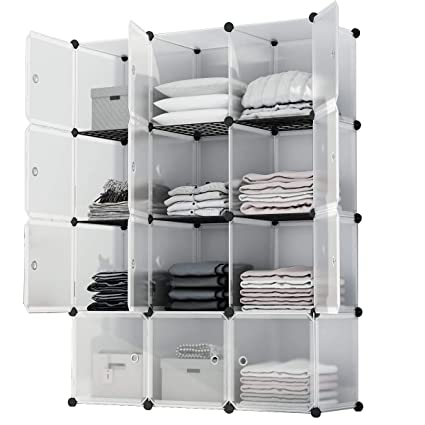 KOUSI Portable Storage Shelf Cube Shelving Bookcase Bookshelf Cubby Organizing  Closet Toy Organizer Cabinet, Transparent