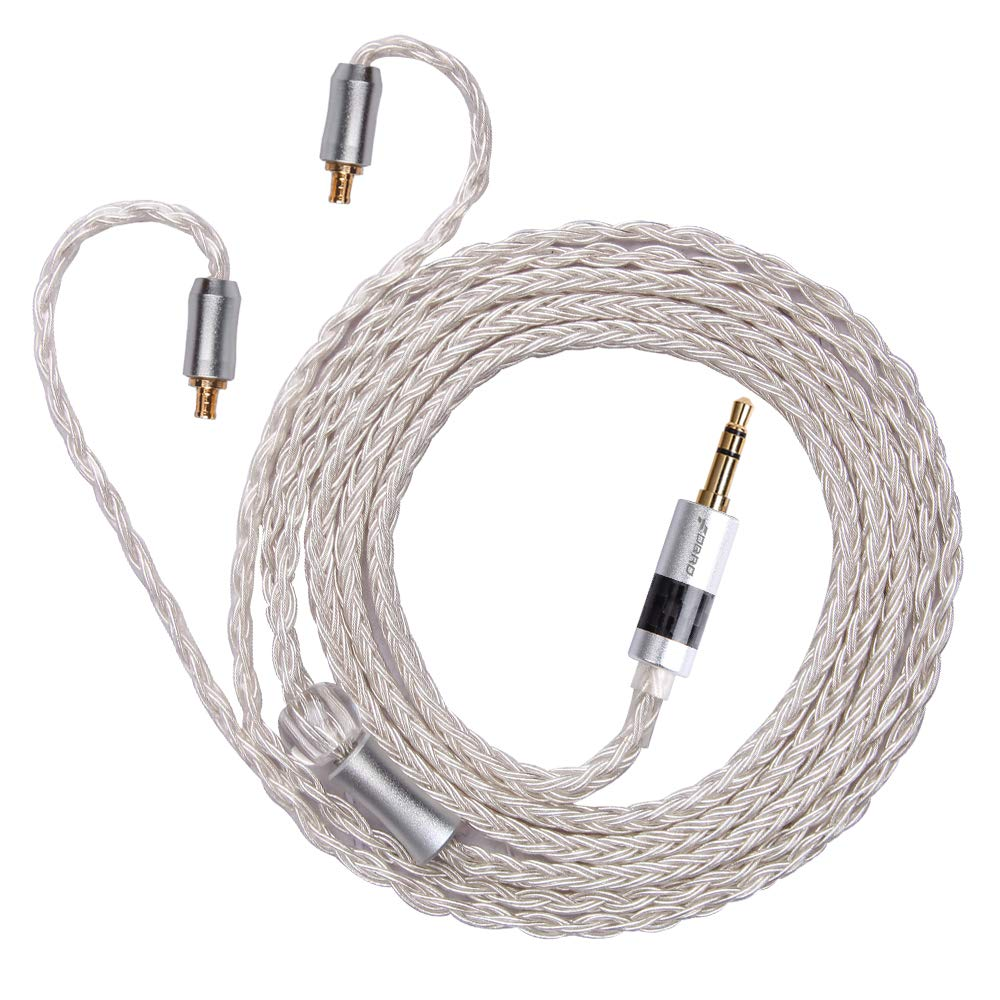 A2DC, Silver-2.5mm 16 Cores Silver Plated Earphone Replacement Cable Metal Plug with Carbon Fiber Upgrade Cable for Ear-Hook Type Replacement Cable