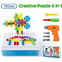 Cytop Mosaik Steckspiel DIY 3D Puzzle Spielzeug Bausteine Schraube Konstruktionsspielzeug Montage Intelligenz Geschenke mit Elektro-Bohrmaschine für Kinder Mädchen Jungen ab 3 Jahre