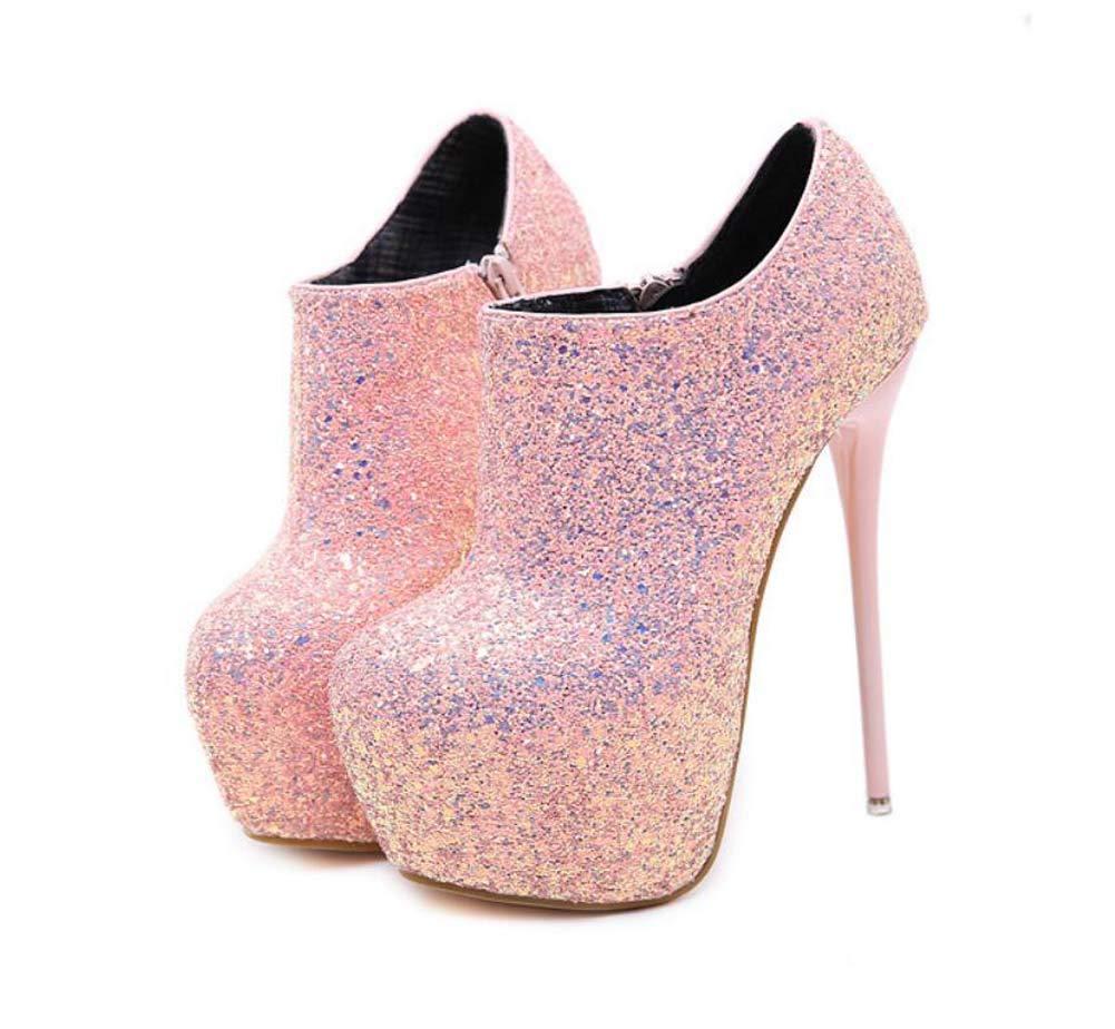 4bdf805d39a Amazon.com  Mamrar Pump 16Cm Stiletto Super High Heels Sexy Sequin Pointed  Toe Ankle Bootie Party Dress Shoes EU Size 34-40  Sports   Outdoors