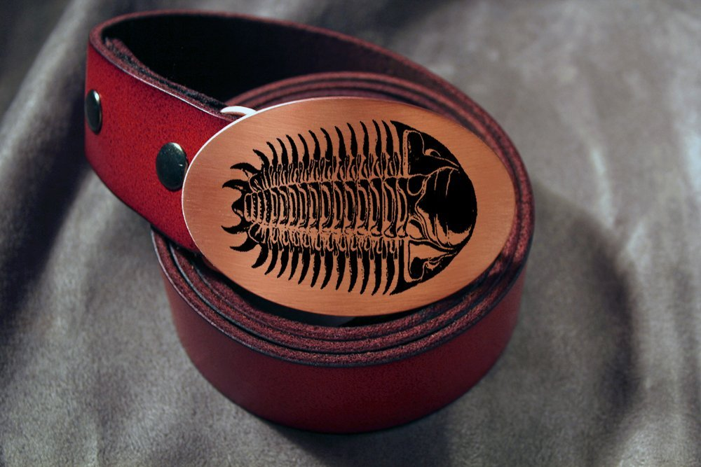 TRILOBITE Fossil Etched Metal Belt Buckle