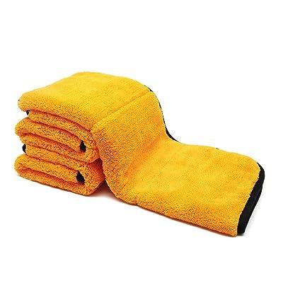 Auto Care 920GSM Super Thick Microfiber Car Cleaning Cloth Detailing Towel 15'' x 17.7'' (Orange/Gray-3PCS): Automotive