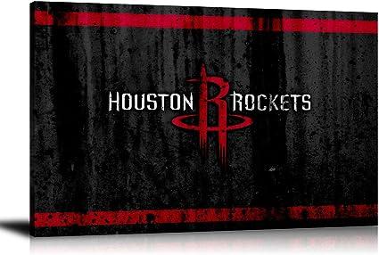 Houston Rockets Wooden Texture HD Print Oil Painting Art on Canvas Unframed