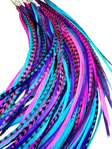 10 Hair Feathers and Beads, 100% Real Rooster Feather Hair Extensions, Long Grizzly, Fuchsia, Turquoise, Purple, B1.